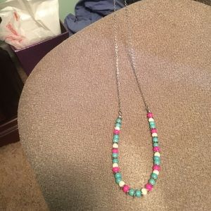 Pink, blue and cream necklace